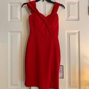 Red, Midi, Off the Shoulder Dress